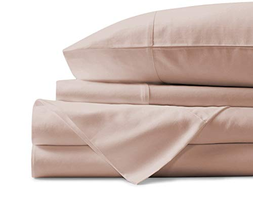 Mayfair Linen 100% Egyptian Cotton Sheets, Blush Queen Sheets Set, 600 Thread Count Long Staple Cotton, Sateen Weave for Soft and Silky Feel, Fits Mattress Upto 18