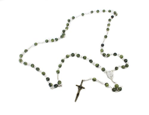 "Connemara Marble Rosaries - Connemara Marble Irish Rosary 24 ¼"" Long Handcrafted in Ireland"
