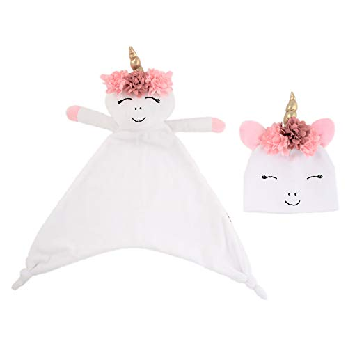Rising Star Baby Girl Plush Lovey Unicorn Blanket with Matching Hat Set, White and Pink, Ages - Blanket Security Princess