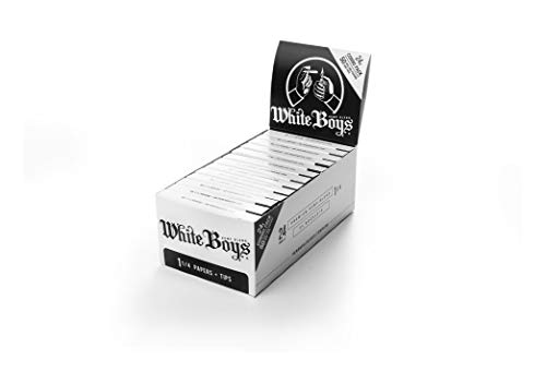 Premium Rolling Paper Box of 24 Booklets with Perforated Filter Tips. Size 1 1/4