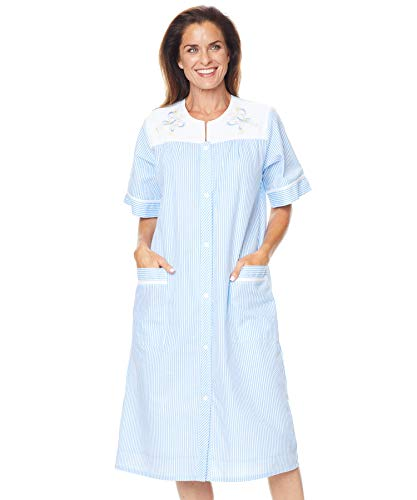 AmeriMark Embroidered Seersucker Duster Robe Snap Front House Dress Lounger Nightgown with Two Pockets and Pinstripes Blue