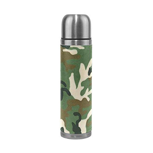 Jstel Camouflage 5Gourde thermos en acier inoxydable anti-fuite double Bouteille Vide pour café chaud ou froid à thé + Boisson Tasse Top 500ml