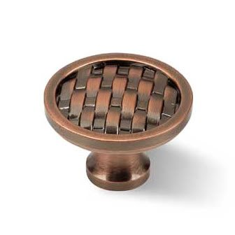 Ultra Grade URBN Classic Weave Pattern 1-3/4 Inch Round Cabinet Knob, Red Bronze Finish (Pack of 4)