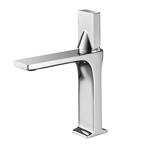 (WANFAN Contemporary Bathroom Faucet Single Handle Single Hole Brass, Hot and Cold Water Lavatory Vanity Faucets (8.66 Inch Short Chrome))