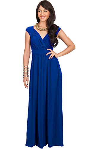 KOH KOH Womens Long Cap Short Sleeve Cocktail Evening Sleeveless Bridesmaid Wedding Party Flowy V-Neck Empire Waist Vintage Sexy Gown Gowns Maxi Dress Dresses, Cobalt/Royal Blue L 12-14 (Empire Gown)