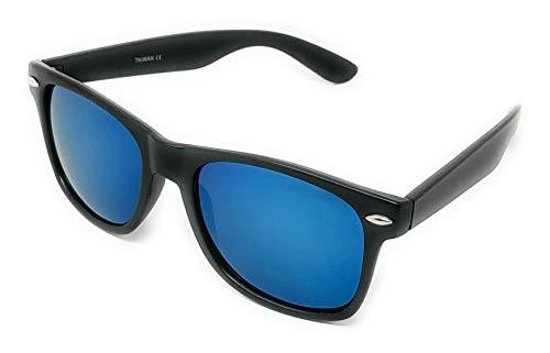Sunglasses Classic 80's Vintage Style Design (Black, Color Mirror ()