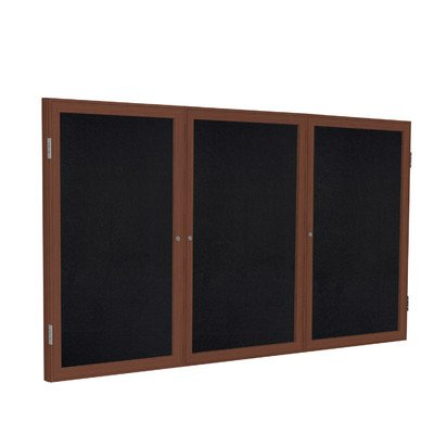 3 Door Enclosed Bulletin Board Size: 4' H x 6' W, Surface Color: Black, Frame Finish: ()