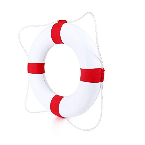 Beautihome Lifebuoy 52cm/20.5inch Diameter Swim Foam Ring Buoy Children Swimming Pool Safety Life Preserver with Perimeter Rope, Red
