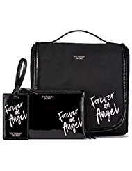 Victoria's Secret FOREVER AN ANGEL 3 piece Set Black Hanging Travel Case, Zip Pouch & Luggage - Miranda Victorias Secret
