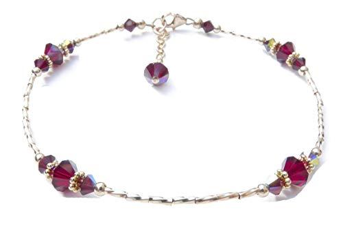 DAMALI Handmade 14K GF Red Garnet Beaded Anklet, January Birthstone, Swarovski Crystal Ankle Bracelets