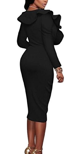 Cocktail Sexy V Sleeve Long Black Ruffle Dress Jaycargogo Bodycon Womens Neck n4x8OqaZgw