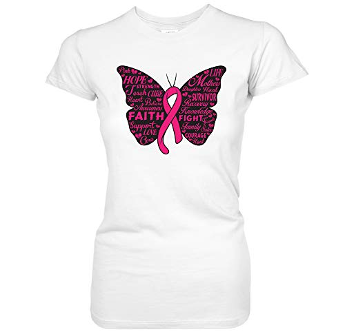 Pink Ribbon Butterfly- Breast Cancer Awareness Juniors T-Shirt (Small ()