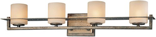 - Minka Lavery Wall Light Fixtures 6464-273 Compositions Glass Bath Vanity Lighting, 4 Light, 300 Watts Halogen, Iron