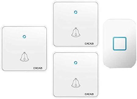 ウォールプラグインコードレスドアチャイム、1000フィートレンジのポータブル電動ドアベルキット、60トーン5ボリュームレベル1プッシュボタンと3レシーバー,白
