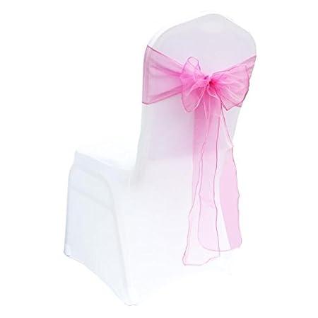 MoGist 25 Unidades Organza con Lazo para sillas Silla Banda Lazo para Boda Banquete Fiesta de cumpleaños Decoración, Tiefes Rosa, 18 * 275cm