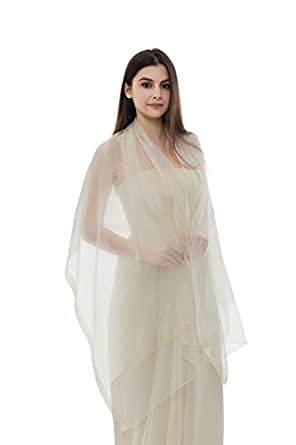 REEMONDE Womens Pure Silk Scarf Long Large Lightweight Wraps Pashmina Shawl for Evening Dresses - Beige - One Size
