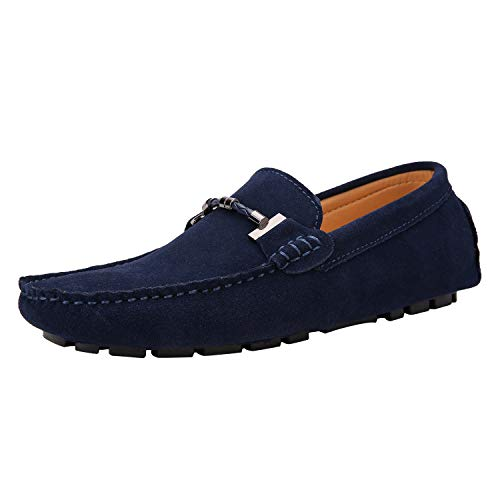 JIONS Mens Loafers & Slip-Ons Suede Driving Moccasins Flat Low Top Dress Shoes C- Dark Blue-44/10 M US ()