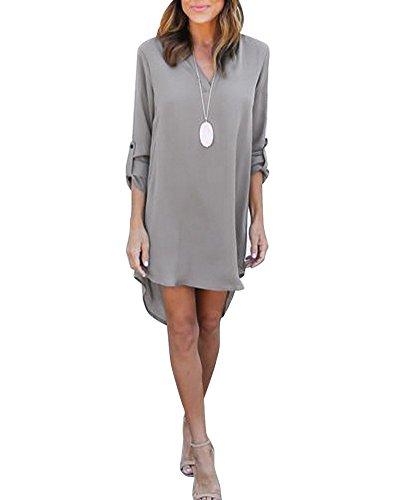 Haut Femme Blouse V Gris Mousseline Col Chemise Longue Robe Lache Manches Tops Tunique Mini r8aqSPgwrx