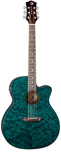 Luna Gypsy Quilt Top Acoustic/Electric Guitar, Teal