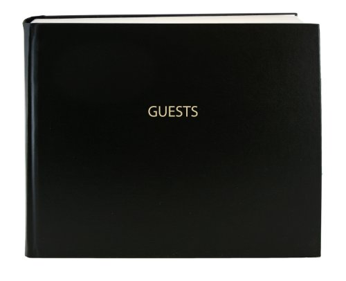 BookFactory Guest Book (120 Pages) / Guest Sign-in Book/Guest Registry/Guestbook - Black Cover, Smyth Sewn Hardbound, 8 7/8