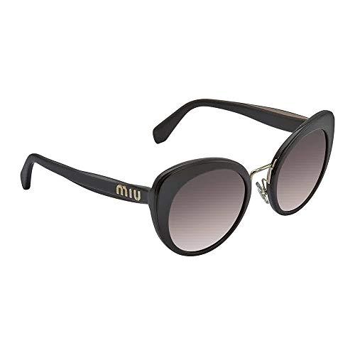 Miu Miu Women's Round Cat Eye Sunglasses, Black/Grey Mirror, One ()