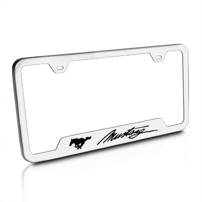 Ford Mustang Script Brushed Steel Auto License Plate Frame Au-Tomotive Gold INC