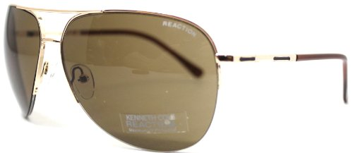 Kenneth Cole Reaction Sunglass Gold Rimless Aviator, Solid Brown Lens KC1098 - Gold Solid Sunglasses