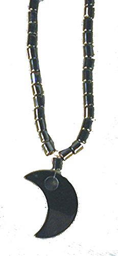 BUY 1 GET 1 FREE Black Hematite Natural Healing Stone Necklace with Crescent Moon Pendant - Hemitite Stone