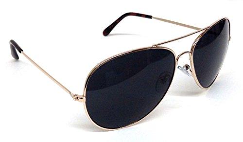 Black & Gold Pilot Aviator - Cops Sunglasses For