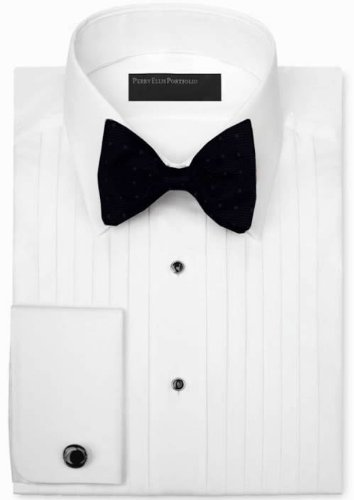 Evening collection 1 2 inch pleated 100 cotton laydown 100 cotton tuxedo shirt