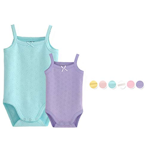 Top Blue Clothes Onesie Baby - Unisex-Baby Sleeveless Onsies Tank Top Cotton Baby Bodysuit Pack of Cardigan Onsies for Infants (0-3 Months, 2 of Pack (Blue+Purple))