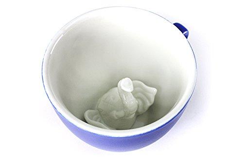 CREATURE CUPS Elephant Ceramic Cup (11 Ounce, Cobalt Blue) | Hidden Animal Inside | Holiday and Birthday Gift for Coffee & Tea Lovers (Tea Elephant Mug)