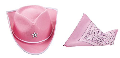 Cowgirl Hat for Kids - 2-Pack Children Cowboy Western Hat with Pink Paisley Bandana for Birthdays, Halloween Parties, Dress-Up Costume Accessories ()