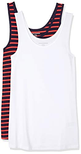 Amazon Essentials Women's 2-Pack Slim-Fit Tank, Navy/Hibiscus Stripe/White, Large