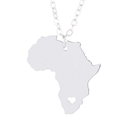M&T 2007 Silver Tone Stainless Steel Map Pendant Necklace, We Love Africa, Africa