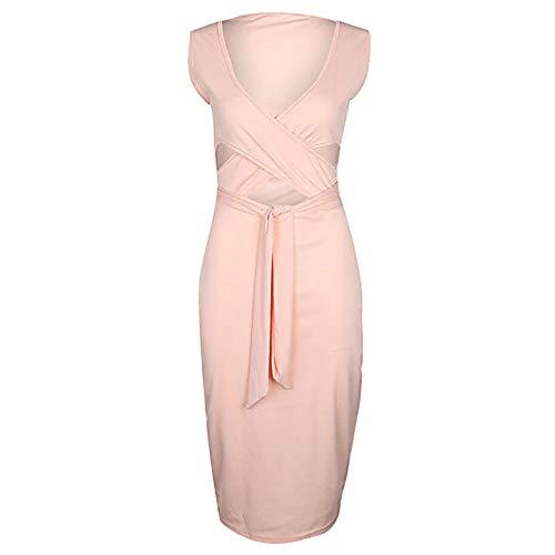L Vestido Blushingpink De Básico Calle Un Chic Mujer Vaina Color JIZHI Midi Pq7gYg