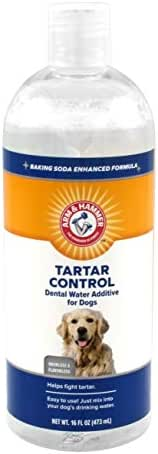 Arm & Hammer Dog Dental Care Dental Tartar Control Water Additive for Dogs | Reduces Plaque & Tartar Buildup Without Brushing, 16 ounces, Odorless and Flavorless