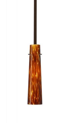 - Besa Lighting 1TT-567418-BR 1X50W E12 Camino Pendant with Amber Cloud Glass, Bronze Finish