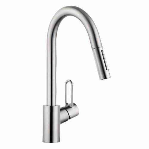 Hansgrohe 04701 Talis Loop Single Handle Pull-Down Kitchen Faucet with Toggle Sp, Steel Optik by Hansgrohe