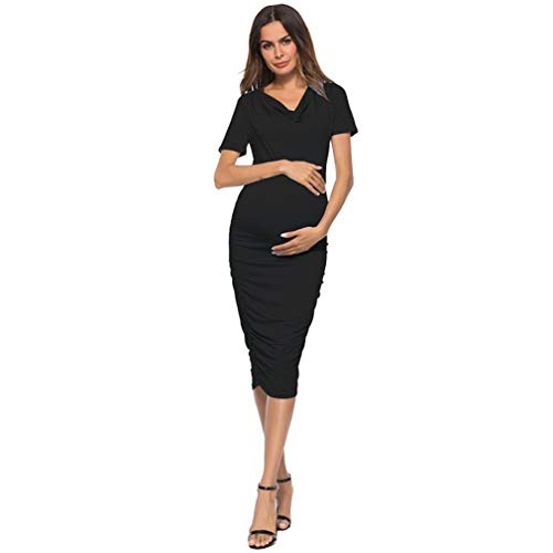 Women Maternity Dresses, Summer Knee-Length Side Ruched Short Sleeve V Neck ()