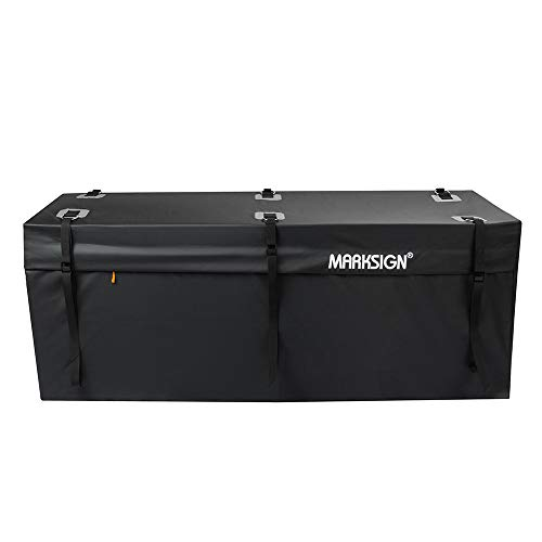 MARKSIGN 100% Waterproof Hitch Carrier Cargo Bag 48 x 19 x 20 (11 Cu Ft), Waterproof Zipper and Rain Flap, 6 Lashing Straps with Cam Buckles