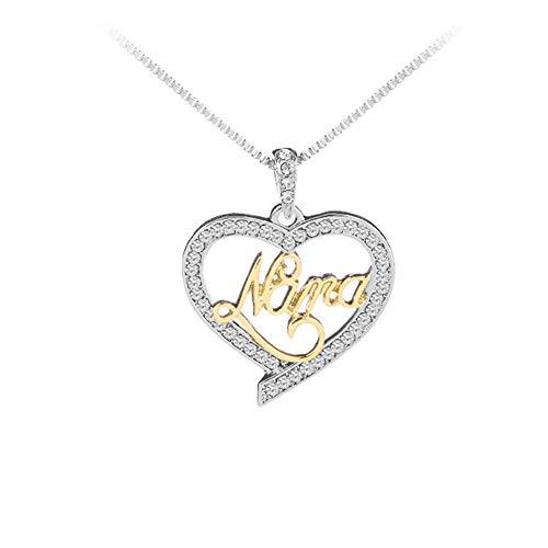 Pendant Mama 1 (ZX101 Fashion Hollow Heart English Letter Mom Mama Rhinestone Pendant Chain Necklace 1#)