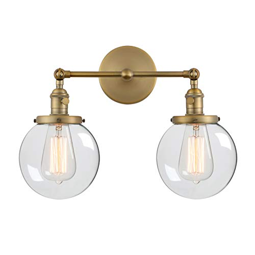 "Two Antique Light Gold (Phansthy Vintage 2 Light Wall Sconce Industrial Wall Light with Dual 5.9"" Globe Glass Lampshade)"