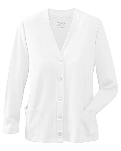UltraSofts Button-Front Knit Cardigan, White, Small