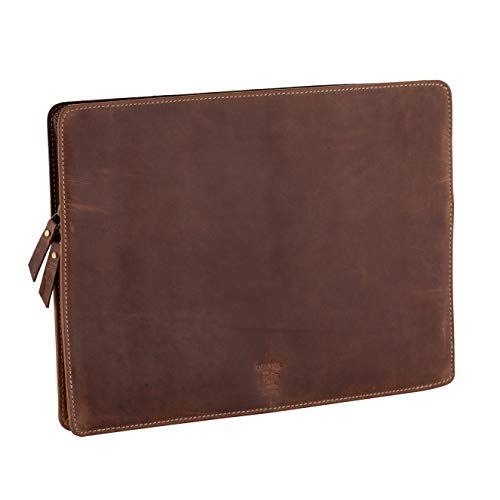 Tuk Tuk Press, Handmade Distressed Buffalo Leather, Luxury Laptop Sleeve, 10 Inches by 13.5 Inches by 15.5 Inches Diagonally