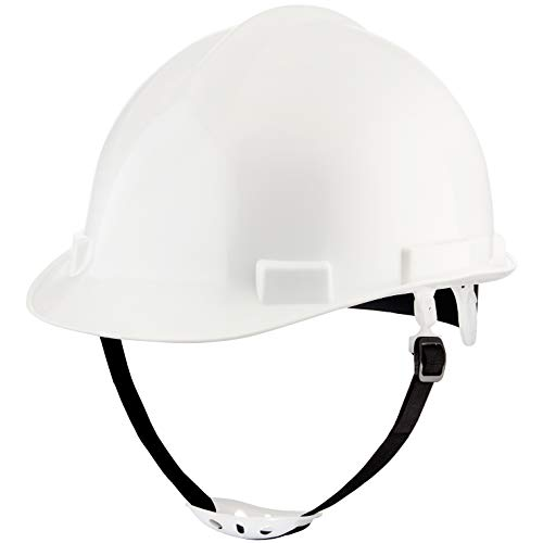NoCry Heavy Duty Hard Hat - Construction Safety Helmet with Adjustable 4-Point Suspension System, 2-Inch Brim. White]()