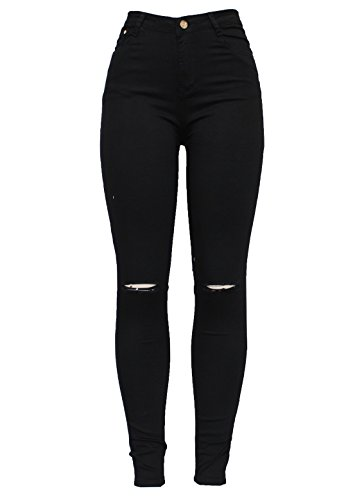 Slim Cut Fashion Fit Tube Pencil 6 Stretchy White Denim Size Black Blue 1895 Black Knee New Jean Womens Skinny High Ripped Barfly Ladies 20 Waisted 67dZq6