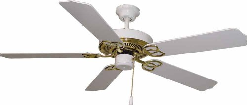 Lenor 52 in. Indoor Polished Brass and White Ceiling Fan (White Ceiling Polished Fan)
