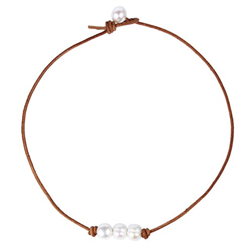 Bonnie Leather Choker Genuine Leather 3 White Pearls Cord Knotted Choker Necklace Handmade Jewelry for Women (Brown)