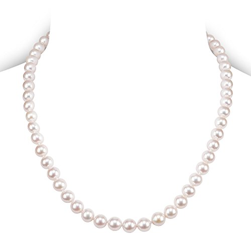 PAVOI Sterling Silver White Freshwater Cultured Pearl Necklace (18, 8mm)